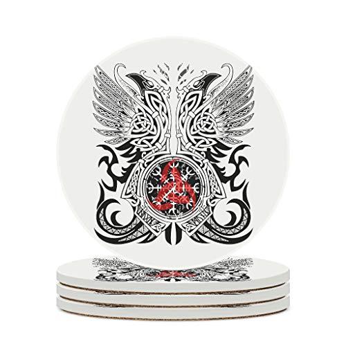 Fineiwillgo Posavasos de cerámica vikingo tatuaje antideslizante redondo de cerámica con parte trasera de corcho impreso para jarrones caseros, diámetro de 9,8 cm, color blanco, 4 unidades