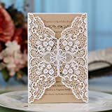 Laser Cut Invitations Kit 40 Packs FOMTOR Laser Cut Wedding Invitations with Envelopes and...