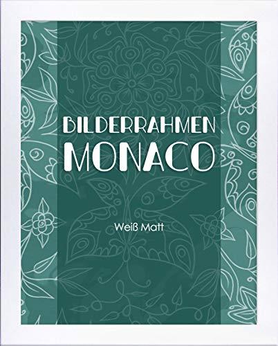Homedeco-24 Monaco MDF Bilderrahmen ohne Rundungen 65 x 50 cm Größe wählbar 50 x 65 cm Weiß matt mit Acrylglas klar 1 mm