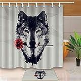 LYDXD 3D Wasserdichter Duschvorhang Wolf Rose Bedrucktes Badezimmer Umweltfre&liches Polyestergewebe 180x240cm