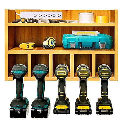 Wokyy Power Tool Organizer Wall Mount, Cordless Power Tools Storage Cabinet, Drill Charging Station, Wooden Toolbox Shelf for Garage Workshop Organization