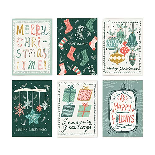 NEW Minimalmart Premium Christmas Cards Box Set of 48 Assorted Premium Cards with 6 different hand-drawn designs– Boxed Assortment Pack with Envelopes - Winter Holiday Xmas Greeting Cards