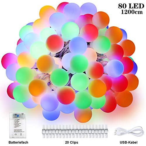 Anpro 80 LED Kugeln Lichterkette 8 Lichtermodi mit 20 Fotoclips, Timing-Funktion, Batterie- und Strombetrieben bute Lichterkette mit USB für Halloween, Weihnachtsdeko, Zimmer, Hochzeit, Party, 12M