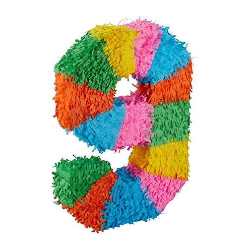 Relaxdays Pignatta per Feste di Compleanno, Numero 9, da Appendere, per Bambini e Adulti, da Riempire, Colore Colorata, 9, 10025189_911