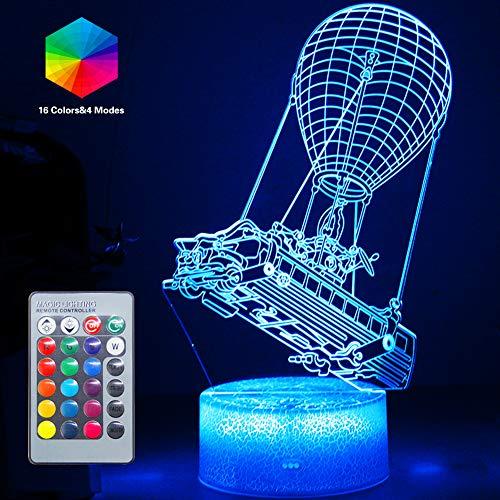 Batttlebus Luces LED 3D Obra de arte Efecto de visión Luz nocturna Control remoto y 16 colores Lámpara de humor Globo de aire caliente Iluminación Cumpleaños Vacaciones Ideas