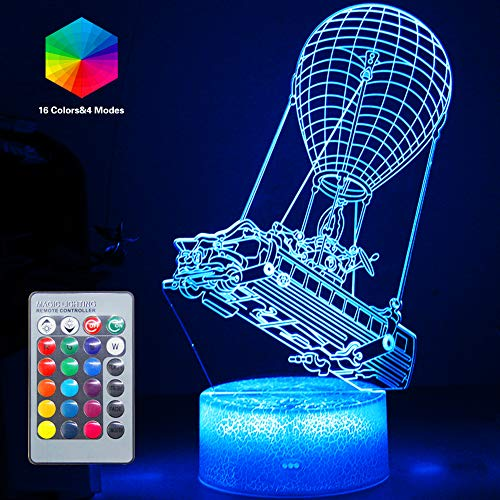 Batttlebus 3D Led Lights Artwork Vision Effect Night Light Remote Control & 16 Colors Mood Lamp Hot Air Balloon Lighting Birthday Holiday Halloween Gift Ideas Decorations for Boys Teen Boyfriends
