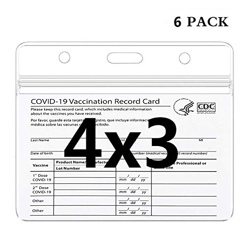 5 Pack - Premium Vaccine Card Protector 3 X 4 in for CDC Immunization Badge, Vaccination Card Protector 4x3 Horizontal Badge ID Name Tag, Vinyl Plastic Sleeve with Waterproof Type Resealable Zip