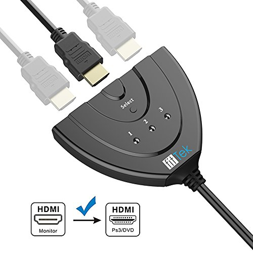 fittek hdmi Pigtail Switch - HDMI Splitter 3 in 1 Out with High Speed Pigtail Cable, 3 Ports Auto Switcher Hub to Expand Your HDMI Capacity, Supports 3D 1080, 3.2 x 2.4 x 0.6