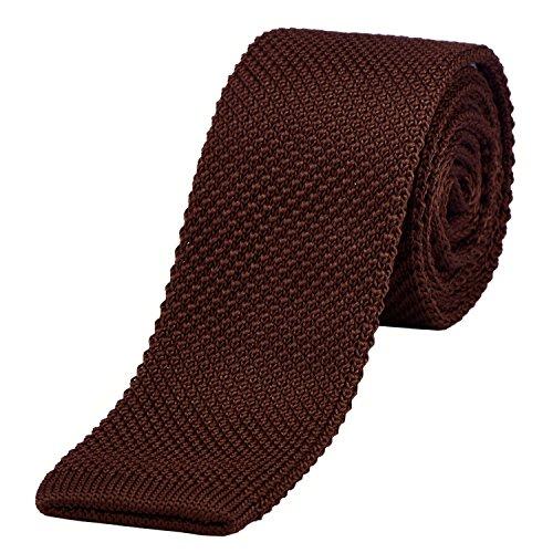 DonDon corbata de punto estrecha de color - marrón