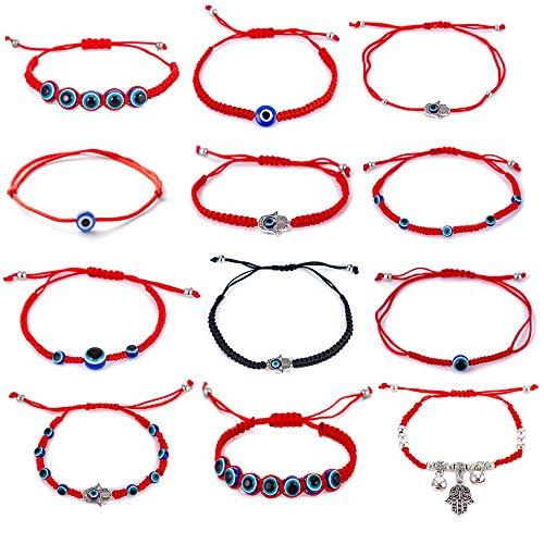 kelistom 12 Pieces Red Kabbalah Evil Eye Hamsa Hand Charm Braided String Bracelets for Women Men Boys Girls Friendship Protection Amulet (Style 1)