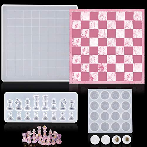 Kukiwhy 3 Pieces Chess Silicone Mold Set Includes Chess Board Epoxy Resin Casting Mould and 2 Pieces 3D Chess Pieces Silicone Resin Molds for DIY Crafts Making, Family Board Games