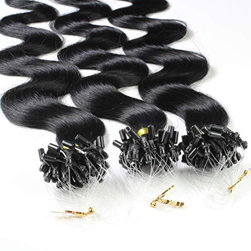 hair2heart 100 x 0.5g Echthaar Microring Loop Extensions, 50cm - gewellt - #1 schwarz