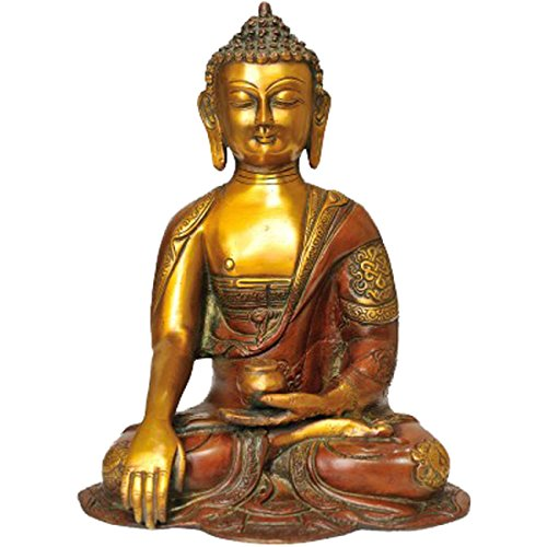 Idol Collections Vintage Buddha Earth Touching Mudra Brass Statue Brown