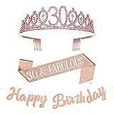 Taumie Cristal Corona de Cumpleaños para Mujer, Tiara con Faja de 30th Cumpleaños, Banner de Feliz Cumpleaños, Princesa Feliz Accesorios para Fiestas de Cumpleaños, Favores, Decoraciones