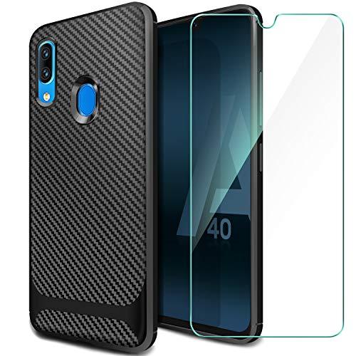 ivencase Samsung Galaxy A40 Hülle + Panzerglas Bildschirmschutzfolie, Schutzhülle Silikon Schwarz Case Soft TPU Handyhülle Carbon Fiber Cover für Samsung Galaxy A40
