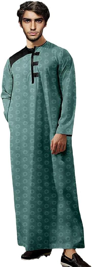 LOIUYBM Men Fashion Muslim Pakistan Robe, Islamic Arabic Kaftan, Long Sleeve Abaya Robes, Cotton Clothing Jubba Thobe