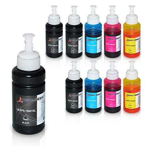 10 Tintenpatronen kompatibel für Epson EcoTank ET-2650 L300 L350 L355 L365 L455 L550 L555 L565 L655 L100 L200 ET2550 ET2500 ET4500 ET4550 T6641 T6642 T6643 T6644, je 70ml