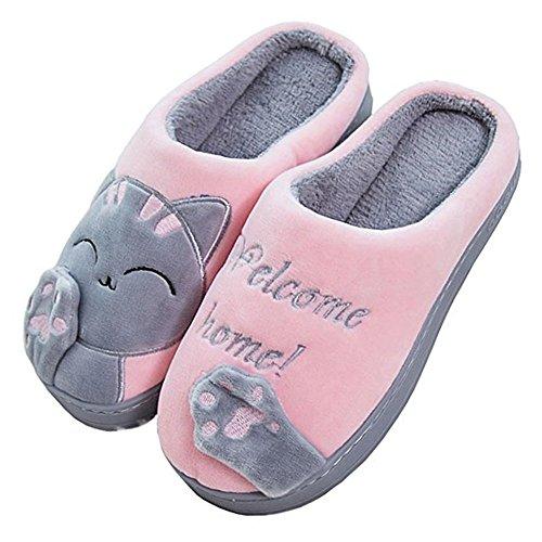 Minetom Herren Winter Hausschuhe, Damen Warme Baumwolle mit Cartoon Katze rutschfeste Indoor Hause Slippers A Pink EU 21