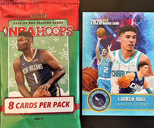 2019-20 Panini NBA HOOPS WInter Parallel Factory Sealed Basketball Card PACK w/8 Cards - Look for Rookie Cards of ZION WILLIAMSON and JA MORANT (Includes Custom LaMELO BALL Card Pictured)