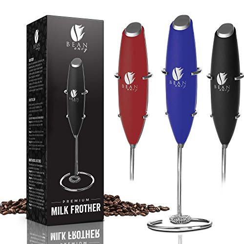 Bean Envy Milk Frother Handheld, Perfect For The Best Latte - Whip Foamer - Includes Stainless Steel Stand - Blue