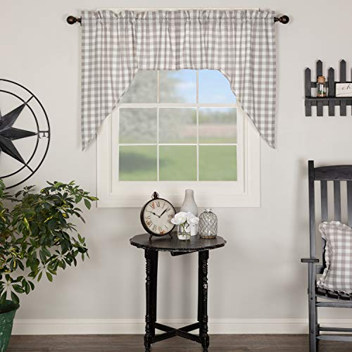 VHC Brands Farmhouse Kitchen Window Curtains - Annie Buffalo Check White Lined Swag Pair, Set 36x36x16, Grey