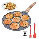 Padella Pancake Smile, Pancake Piastra Antiaderente 7 Fori Padella Frittata Senza FPOA Piatto Colazione Per Bambini 27 cm