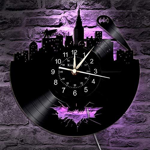 BFMBCHDJ Schallplatte Wanduhr 12-Zoll-LED-Uhr Home Decor Ideal hängende Nachtlampe 7 Farbe Beleuchtung Uhr