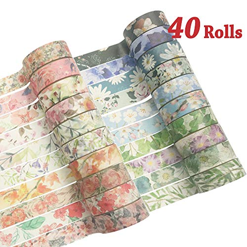 Washi Tape Set Floral Skinny Masking Tape Flowers Decorative Pack for DIY Scrapbooking, Crafts, Gift Wrapping, Holiday Decoration 40 Rolls