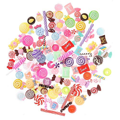 100 Pieces Super Cute Slime Charms Mixed Candy Sweets Resin Flatback Slime Beads Making Supplies for DIY Scrapbooking Crafts, Assorted Colors and Shapes