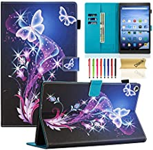 Dteck Case for All-New Amazon Fire HD 10 Tablet (7th/9th Generation, 2017/2019 Release) - Slim Fit PU Leather Folio Stand Smart Cover with Auto Wake/Sleep for Fire HD 10.1 inch, Twinkle Butterfly