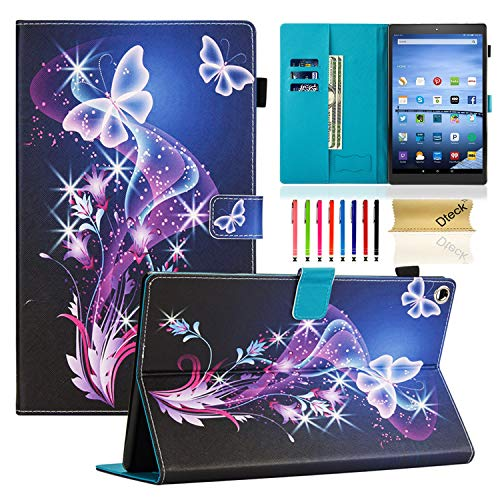 Dteck Case for All-New Fire HD 10 Tablet (9th/7th/5th Generation, 2015/2017/2019 Release) - Slim PU Leather Folio Stand Smart Cover with Auto Wake/Sleep for Amazon Fire HD 10.1 inch, Twinkle Butterfly