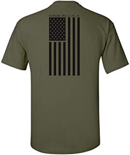 Made USA Flag Subdued Banner Print T-Shirt - Military Green