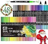 pennarelli a doppia punta, penne da colorare vakki 48 colori pennarelli con punta fine da 0.4mm e punta brush per disegno, colorare, calligrafia, manga, pittura belle arti