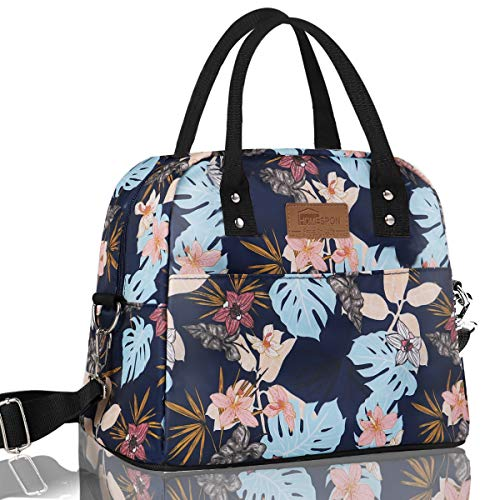 Buringer Large Insulated Lunch Bag Reusable Cooler Tote Box with Shoulder Strap and Two Pockets For Woman Man Work Picnic or Travel (Colorful Flowers)