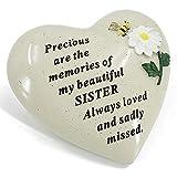AngraveMemorials Special Sister Daisy Flower & Bumble Bee - Targa commemorativa a Forma di Cuore
