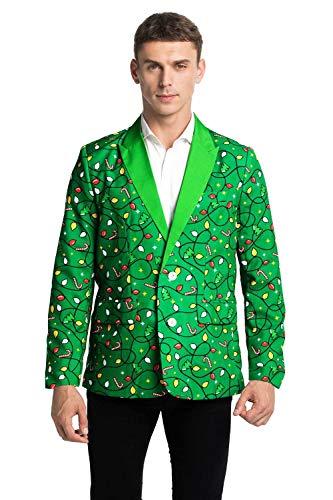 Chaleco de navidad feo para hombre Blazer Holiday Party Blazer con divertidos disfraces de Navidad, abrigo para hombre