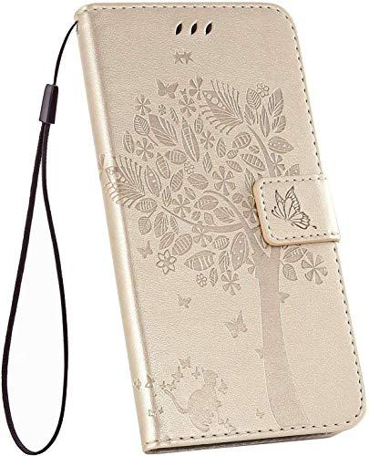 Ysimee Hülle kompatibel mit Samsung Galaxy A51 Handy Schutzhülle/Klapphülle PU Lederhülle mit Standfunktion und Kartenfach, extra Dünn, Katze Muster Tasche Einfarbig, Leder Handyhülle - (Gold)