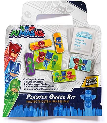 Jellyworks PJ Masks tiritas y toallitas para limpiar heridas / x22 / Sin látex/Hipoalergénico/Prueba de lavado/Certificado CE 50 g