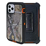 """WallSkiN Turtle Series Belt-Clip Holster Case Compatible w iPhone 12 Pro/iPhone 12 (6.1""""), 3-Layer Full Body Protective Defender Cover & Certified Shock, Drop, Dust Proof - Camouflage/Orange"""