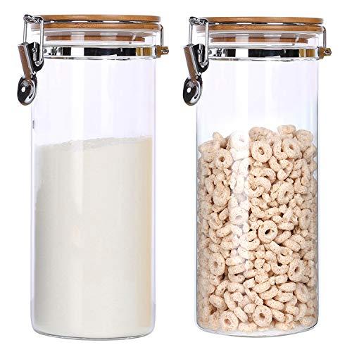 KKC Vorratsdosen Glas Luftdicht,Glasbehälter mit Deckel, Müsli Dose,Lebensmittel Aufbewahrung Glas für Mehl,Nüsse Behälter Glas, 2 teilig , 1,5 L müsli aufbewahrung Glas