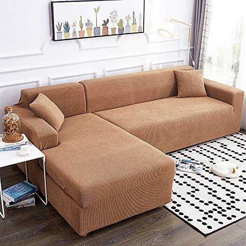 TIYKI 2 Piezas Punto Funda De Sofa,Cubierta De Sofá Elástico,L Forma Cubiertas De Couch para Seccional,Protector De Muebles para Perros Mascotas-Color Khat Forma L 4+4 Asientos