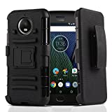 Moto G5S Plus Case Hybrid Heavy Duty Dual Layer Shockproof [Swivel Belt Clip] Holster with [Kickstand] Combo Rugged Protective Case Cover for Motorola Moto G5S Plus / XT1806 (Black)