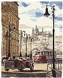 fahut Pintura Digital De Bricolaje para Adultos Y Niños Pintura por Kits Numéricos Street View De Praga Alojamiento De Cumpleaños Decoración Navideña Regalos 40X50Cm con Marco