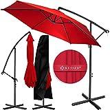 KESSER® Alu Ampelschirm Sonnenschirm Ø 350 cm mit Kurbelvorrichtung UV-Schutz Aluminium Wasserabweisende Bespannung - Schirm Gartenschirm Marktschirm Rot