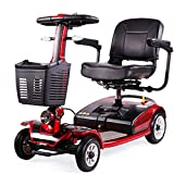 DGPOAD 4 Wheels Electric Scooter for Adults Power Mobility Scooter Heavy Duty Seniors Travel Scooter,Foldable,openable Handrail,40cm Wide Seat,40kg with Lithium Battery/Red