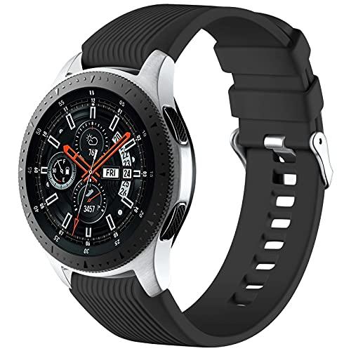 Mastten 22mm Silikon Armband kompatibel mit Samsung Galaxy Watch 3 45mm/Galaxy Watch 46mm/Huawei Watch GT2 46mm, Weiches Silikon Sport Armbänder Ersatzbänder für Männer Frauen, Schwarz