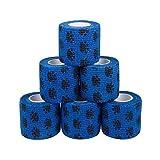 Bende 6 pezzi Bende coesive autoadesive in blu con bende fasciatura elastica 5 cm larghezza 4,5 metri lunghezza per dita, mano, dita dei piedi e piedi, toppe miracolose, di amathings