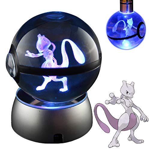 COOLINKO 3D Crystal Ball LED Night Light with LED Keychain Laser Engraving (Mewtwo)