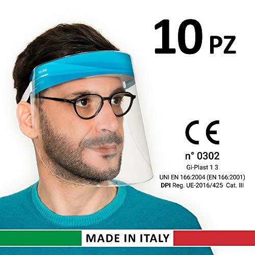 Visiera Protettiva Paraschizzi Made In Italy Dispositivo di Protezione Individuale cat.III CE conf 10 Pezzi
