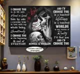 Sugar Skull Couple I Choose You to Do Life Customized Poster No Frame OR Canvas 0.75 Inch Print in US